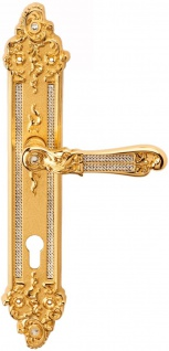 Casa Padrino Luxus Barock Türklinken Set mit Swarovski Kristallglas Gold 14, 5 x H. 32, 5 cm - Barockmöbel
