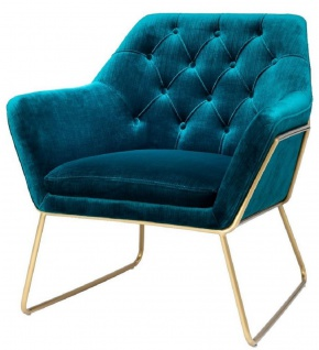 Casa Padrino Luxus Lounge Samt Sessel Blau / Messing 75 x 78 x H. 82 cm - Retro Wohnzimmer Sessel - Luxus Möbel