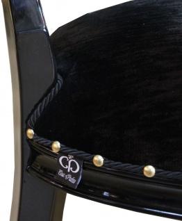 Casa Padrino Barock Medaillon Luxus Esszimmer Stuhl ohne Armlehnen in Schwarz / Schwarz - Limited Edition - Vorschau 4