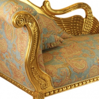 Casa Padrino Barock Luxus Chaiselongue Antik Gold-Türkis-Rot Muster / Gold - Golden Wings - Luxus Qualität - Vorschau 2