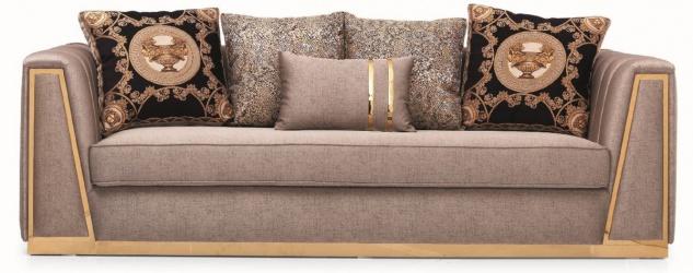 Casa Padrino Luxus Wohnzimmer Sofa mit dekorativen Kissen Grau / Gold 240 x 92 x H. 78 cm - Luxus Wohnzimmer Möbel