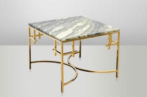 Casa Padrino Art Deco Beistelltisch Gold Metall / Marmor 60 x 60 cm- Jugendstil Tisch - Möbel Blumentisch