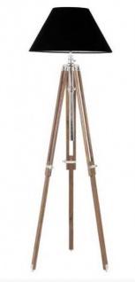 Casa Padrino Luxus Studioleuchte Teleskop Vintage Lampe Stehleuchte Naturholz / Chrom - Nickel Finish - Luxus Qualität