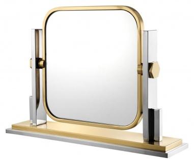 Casa Padrino Luxus Schminkspiegel Silber / Gold 66 x 15 x H. 47 cm - Schminktisch Spiegel
