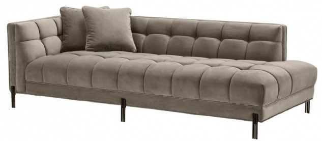 Casa Padrino Luxus Lounge Sofa Greige / Schwarz 223 x 95 x H. 68 cm - Linksseitiges Wohnzimmer Sofa mit edlem Samtsoff und 2 Kissen