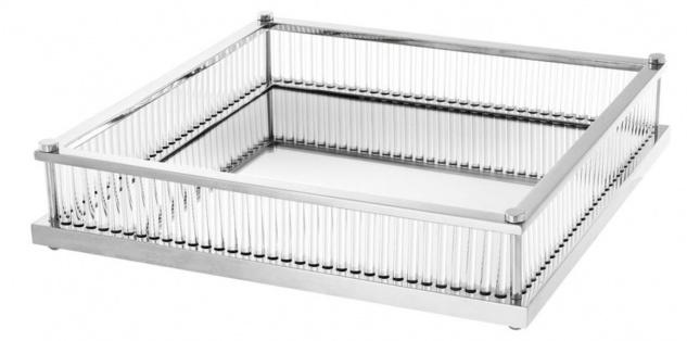 Casa Padrino Luxus Serviertablett Silber 39, 5 x 39, 5 x H. 9 cm - Gastronomie Accessoires
