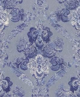 Casa Padrino Barock Textiltapete Silber / Blau 10, 05 x 0, 53 m - Wohnzimmer Deko Accessoires