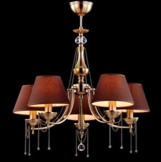 Casa Padrino Barock Kristall Decken Kronleuchter Messing 64 x H 54 cm Antik Stil - Möbel Lüster Leuchter Hängeleuchte Hängelampe