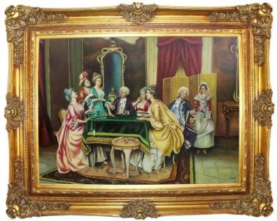 Casa Padrino Barock Ölgemälde Familientreffen Mehrfarbig / Gold 160 x 10 x H. 130 cm - Handgemaltes Gemälde mit prunkvollem Rahmen im Barockstil - Deko im Barockstil
