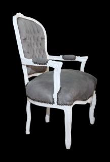 Casa Padrino Barock Salon Stuhl Grau/Weiss - Mod1 - Vorschau 2