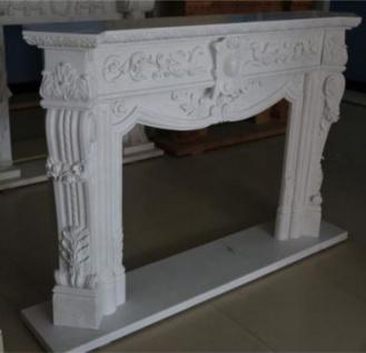 Casa Padrino Luxus Barock Kaminumrandung Weiß 180 x 35, 5 x H. 120 cm - Prunkvolle Kaminumrandung aus hochwertigem Marmor - Deko Accessoires im Barockstil