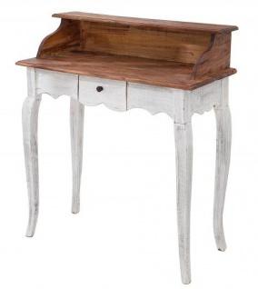 Casa Padrino Landhausstil Schreibtisch Antik Weiß / Natur 80 x 40 x H. 92 cm - Schreibtisch im Shabby Chic Look