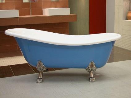Freistehende Luxus Badewanne Jugendstil Roma Hellblau/Weiß/Chrome 1470mm - Barock Antik Badezimmer - Vorschau 2