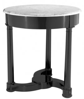 Casa Padrino Beistelltisch schwarz mit weißer Marmorplatte 66 x H. 71, 5 cm - Luxus Kollektion