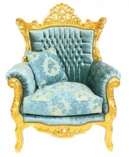 Casa Padrino Barock Wohnzimmer Set Master Türkis-Blau Muster Samtstoff / Gold - 2er Sofa + 2 Sessel - Limited Edition! - Vorschau 3