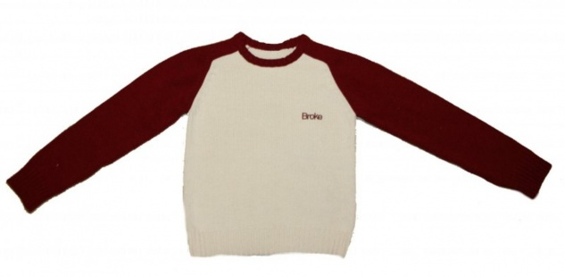 Broke Skateboard Pullover Cream/Bordo Sweater