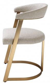 Casa Padrino Designer Stuhl mit Armlehnen Naturfarben / Messingfarben 53, 5 x 49 x H. 78 cm - Esszimmerstuhl - Bürostuhl - Designermöbel - Vorschau 2