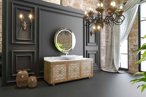 Casa Padrino Luxus Badezimmer Set Naturfarben / Weiß - 1 Waschtisch mit 3 Türen und 1 Waschbecken und 1 Wandspiegel - Badezimmermöbel - Luxus Qualität - Vorschau 2