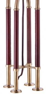 Casa Padrino Luxus Tischleuchte Antik Messing / Braun / Weiß Ø 40, 6 x H. 73, 7 cm - Edle Metall Leuchte mit hochwertigem Leder und Leinen Lampenschirm - Luxus Qualität - Vorschau 3