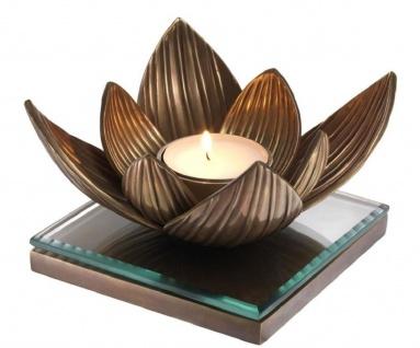 Casa Padrino Luxus Teelichthalter Lotusblume Vintage Messingfarben 16 x 16 x H. 10, 5 cm - Deko Accessoires