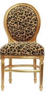 Barock Esszimmer Stuhl Leopard Mod2 / Gold Rund