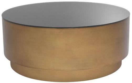 Casa Padrino Luxus Couchtisch Antik Messingfarben Ø 100 x H. 41 cm - Runder Stahl Wohnzimmertisch mit Glasplatte - Wohnzimmer Möbel - Luxus Möbel