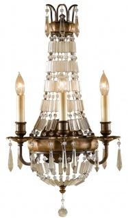 Casa Padrino Barock Wandleuchte mit Kristallglas Bronze 32, 4 x 19, 1 x H. 58, 4 cm - Prunkvolle Wandlampe im Barockstil - Edel & Prunkvoll