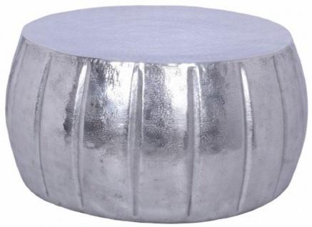 Casa Padrino Aluminium Couchtisch Silber Ø 65 x H. 31 cm - Runder Wohnzimmertisch im orientalischen Stil - Wohnzimmer Möbel
