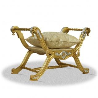 Casa Padrino Barock Sitzhocker Gold Silber - Luxus Kreuzhocker
