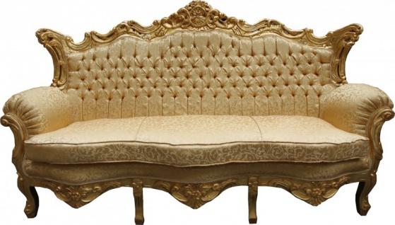 Casa Padrino Barock Wohnzimmer Set Gold Muster/ Gold - 3er Sofa+2er Sofa + 1 Sessel - Vorschau 3