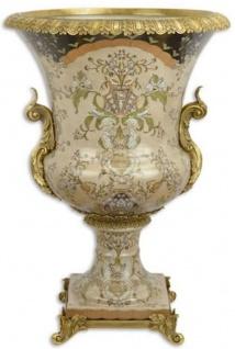 Casa Padrino Barock Deko Porzellan Vase Mehrfarbig / Messingfarben Ø 52 x H. 75, 5 cm - Prunkvolle Blumenvase - Deko Accessoires im Barockstil