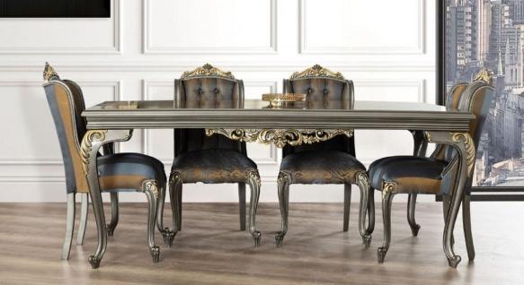 Casa Padrino Luxus Barock Esstisch Grau / Gold - Edler Massivholz Esszimmertisch - Barock Esszimmer Möbel - Edel & Prunkvoll
