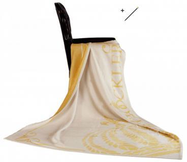 Harald Glööckler Designer Wohndecke 150 x 200 cm Queen Creme / Gold + Casa Padrino Luxus Barock Bleistift mit Kronendesign