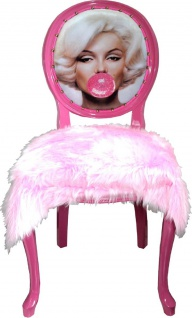 Casa Padrino Luxus Barock Esszimmer Set Marilyn Monroe Bubble Gum Crazy Rosa 50 x 60 x H. 104 cm - 4 handgefertigte Esszimmerstühle mit Kunstfell und Bling Bling Glitzersteinen - Vorschau 2