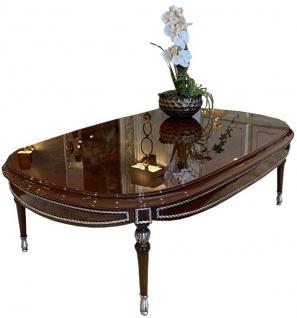 Casa Padrino Luxus Barock Couchtisch Braun / Silber 144 x 92 x H. 45 cm - Ovaler Massivholz Wohnzimmertisch mit Glasplatte - Edle Barock Wohnzimmer Möbel