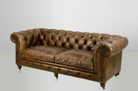 Chesterfield Luxus Echt Leder Sofa 2.5 Seater Vintage Leder von Casa Padrino Cigar