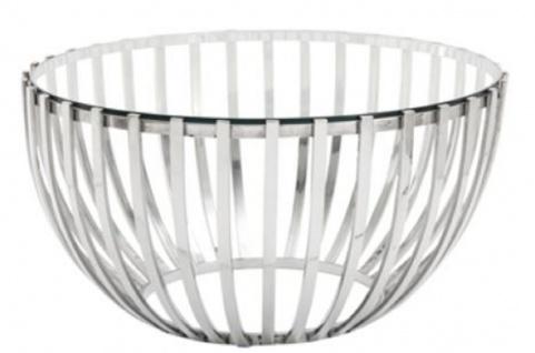 Casa Padrino Luxus Couchtisch Silber Ø 81 x H. 43 cm - Runder Edelstahl Wohnzimmertisch mit Glasplatte - Vorschau