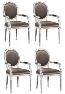 Casa Padrino Luxus Barock Esszimmer Set Weiß / Gold / Grau 59 x 43, 5 x H. 98 cm - 4 Esszimmerstühle mit Armlehnen - Esszimmermöbel