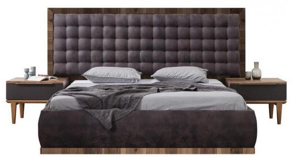 Casa Padrino Luxus Massivholz Schlafzimmer Set Lila / Braun - 1 Doppelbett mit Kopfteil & 2 Nachttische - Luxus Schlafzimmer Möbel