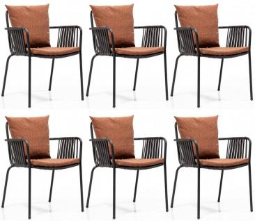 Casa Padrino Luxus Gartenstuhl Set Braun / Schwarz 50 x 45 x H. 82 cm - Moderne Gartenstühle mit Armlehnen - Garten & Gastronomie Möbel