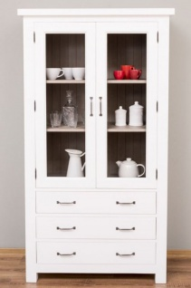 Casa Padrino Landhausstil Küchenschrank Weiß / Grau 100 x 50 x H. 180 cm - Massivholz Vitrinenschrank mit 2 Glastüren und 3 Schubladen - Landhausstil Küchen Möbel