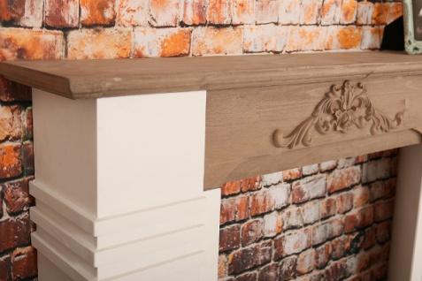 Casa Padrino Landhausstil Kaminumrandung Antik Weiß / Braun 110 x 22 x H. 98 cm - Shabby Chic Möbel - Vorschau 4