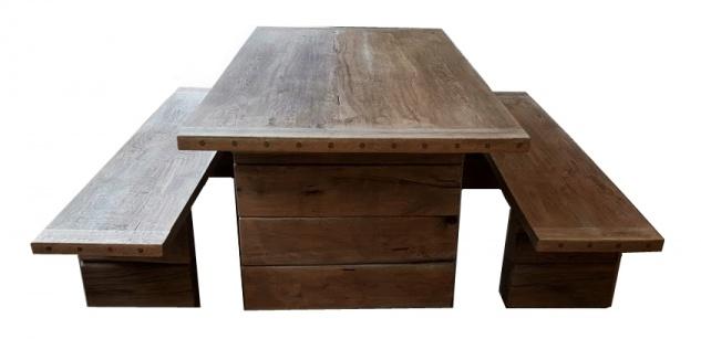 Casa Padrino Gartenmöbel Set Rustikal - Tisch + 2 Garten Bänke (Länge 200 cm) - Eiche Massivholz - Echtholz Möbel Massiv - Vorschau 3