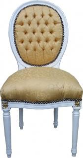 Casa Padrino Barock Esszimmer Stuhl Gold Muster / Weiß mit Gold Bemalung Mod2 Rund - Medaillon Stuhl