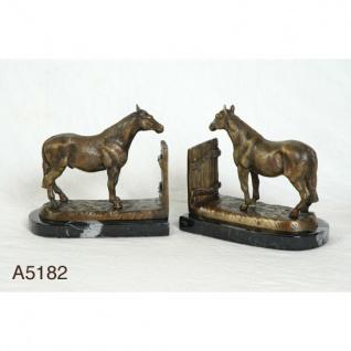 Casa Padrino Luxus Bücherstützen Stehende Pferde aus Bronze auf Marmorsockel - Bücherstütze - Book End