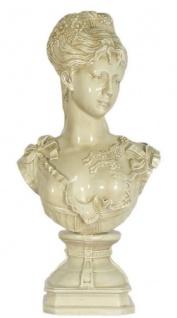 Casa Padrino Barock Damen Büste Creme 37 x 22 x H. 70 cm - Dekofigur im Barockstil