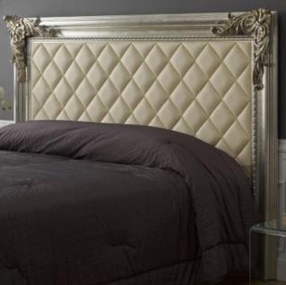 Casa Padrino Luxus Barock Bett-Kopfteil mit Kunstleder Antik Silber / Antik Gold / Elfenbeinfarben 210 x 12 x H. 140 cm - Barock Schlafzimmer Möbel