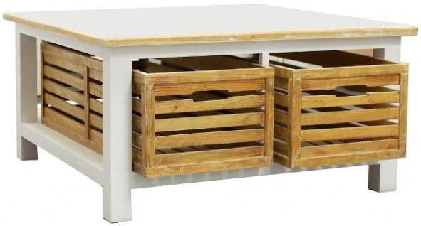 Casa Padrino Landhausstil Couchtisch Weiß / Naturfarben 90 x 90 x H. 47 cm - Handgefertigter Wohnzimmertisch mit 2 Holzkörben