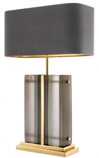 Casa Padrino Luxus Tischleuchte Gold / Grau 45 x 22 x H. 73 cm - Hotel & Restaurant Tischlampe