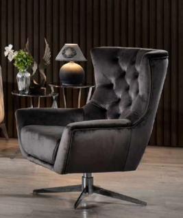 Casa Padrino Luxus Chesterfield Drehsessel Grau / Silber 85 x 85 x H. 95 cm - Wohnzimmer Sessel - Chesterfield Wohnzimmer Möbel